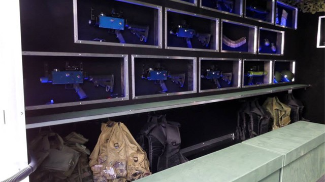 Inside the Laser Tag trailer, you'll prepare for battle!